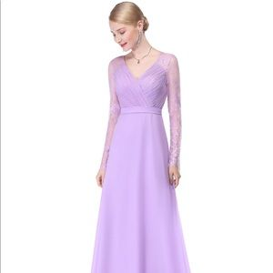 V Neck Long Evening Gown with Lace Sleeves